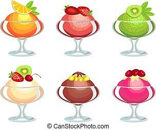 Ice cream - collection of ice cream from fruit juices, cream...