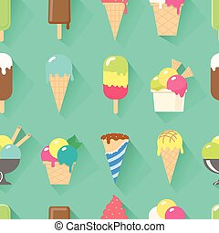 Ice cream collection seamless pattern