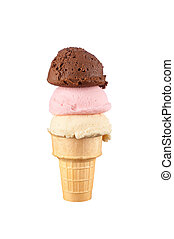 Ice cream cone - An ice cream cone with vanilla, chocolate...