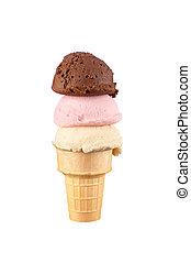 Ice cream cone - An ice cream cone with vanilla, chocolate...