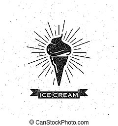 ice cream cone and vintage ribbon - vector illustration with...