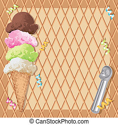 Stack ice cream scoops with a waffle cone background
