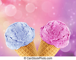 Ice Cream cone - Blue and Pinkberry Ice cream in the cone...