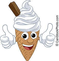 An ice cream waffle cone with chocolate cartoon character mascot giving at thumbs up