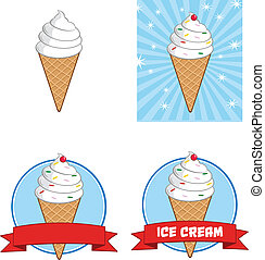 Ice Cream Cone Circle Banners