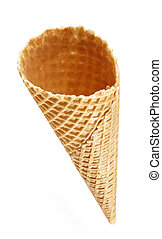 Ice cream cone - empty ice cream cone on white background