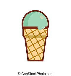 Ice cream cone icon isolated. Trendy Flat style for graphic design, Web site, social media, UI, mobile upp, Vector illustration