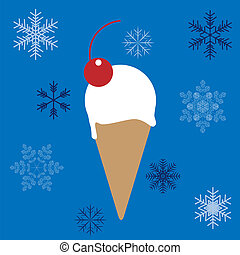 Ice-cream cone in vector on snowflakes background