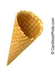 Ice cream cone isolated on white background.