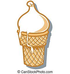 Ice cream cone sign in retro or vintage 1950s cartoon style clip art