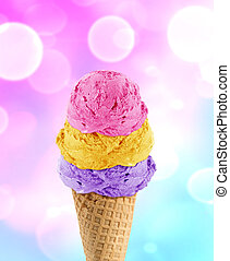 Ice Cream cone - three Ice cream scoops in the cone with...