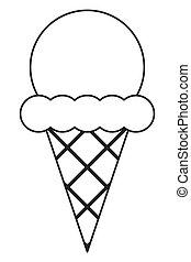ice cream cone - simple black line ice cream with cone icon...