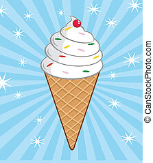 Ice Cream Cone With Cherry And Background