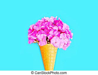 Ice cream cone with flowers