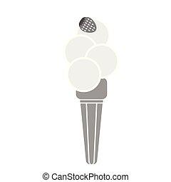 ice cream cone with strawberry simple art geometric illustration