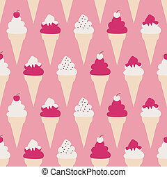 Seamless pattern with ice cream cones against pink background.