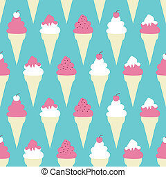 Seamless pattern with ice cream cones.