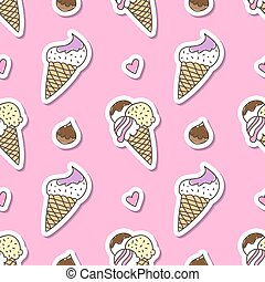 ice cream cones - vector hand drawn ice cream cones,...