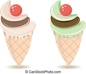 Ice cream cones - Illustration of Ice Cream cones over white