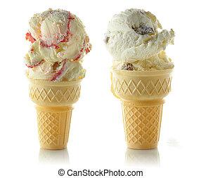 ice cream cons on white background