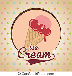 ice cream design over dotted background vector illustration