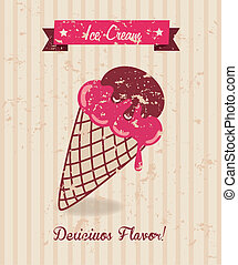 ice cream design over lineal background vector illustration