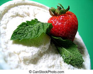 Ice Cream Dessert - Strawberry, mint and vanilla ice cream.