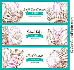 Ice cream desserts sketch vector banners set