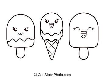 Ice cream desset. Happy cartoon face. vector graphic