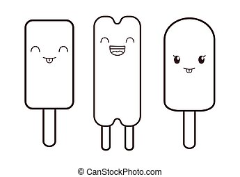 Ice cream desset. Happy cartoon face. vector graphic
