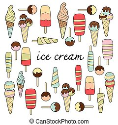ice cream doodle pastel colors variation