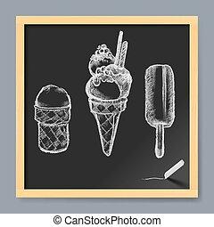 Ice Cream Drawing on a Blackboard
