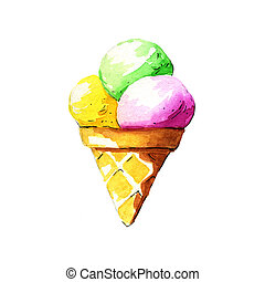 Ice cream. Watercolor illustration on a white background