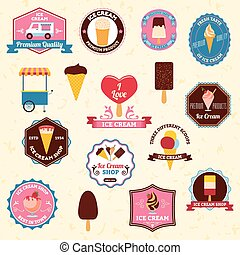 Ice cream emblems set