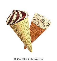 Ice cream flakes chocolate cones - 3D rendering, ice cream...