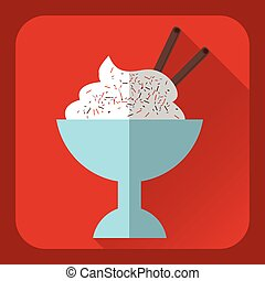 Ice cream. Flat color icon.
