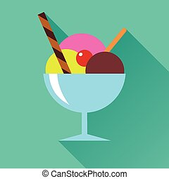 Vector illustration of ice cream flat icon in blue square background with diagonal shadow