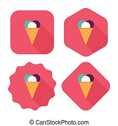 ice cream flat icon with long shadow, eps10
