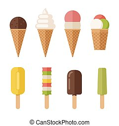 Ice cream flat icons set