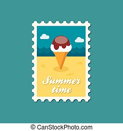 Ice Cream flat stamp, summertime