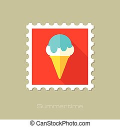 Ice Cream flat stamp with long shadow