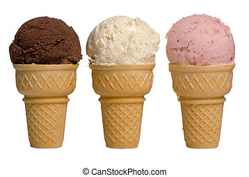 Ice Cream Flavors - 3 different flavors of ice cream cones...