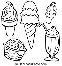 ice cream Food Items line art isolated on a white background...