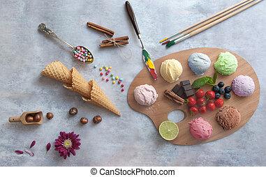 Ice cream food palette