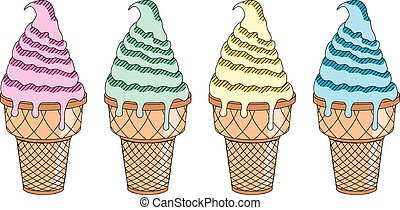 Ice cream - four colors - illustration/ clipart