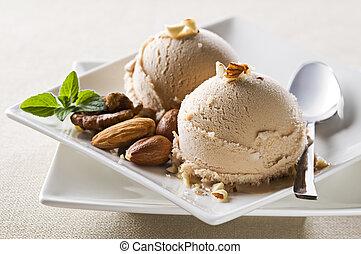Ice cream  - Fresh hazelnut ice cream on plate close up
