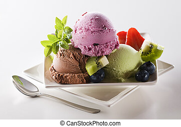 Fresh mixed ice cream close up shoot
