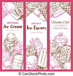Ice cream frozen desserts vector banners sketch