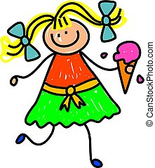 ice cream girl - Cute whimsical childlike drawing of a happy...