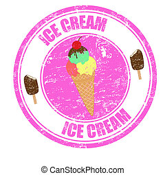 Ice Cream grunge rubber stamp